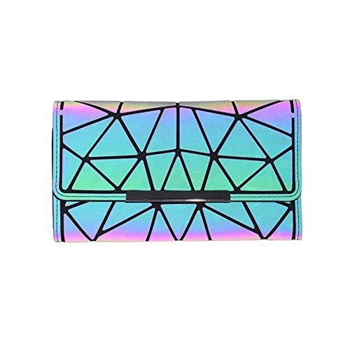 Geometrische Lange Brieftasche und Geldbörse - Mode Leuchtend Trifold Gitter Geldbörse Brieftaschen für Damen NO.2 (Für Frauen Brieftasche Magie)
