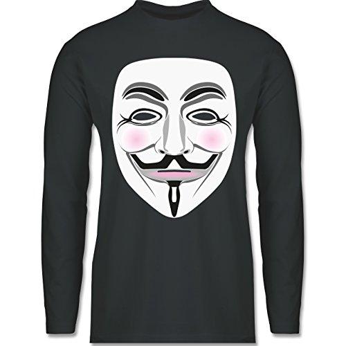 Shirtracer Nerds & Geeks - Anonymous Maske Hacker - Herren Langarmshirt Dunkelgrau