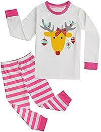 b3a18f0f82 FANCYINN Schlafanzug Pyjama Weihnachten Baby Kinder Xmas Rentier Hausanzug  Nachtwäsche
