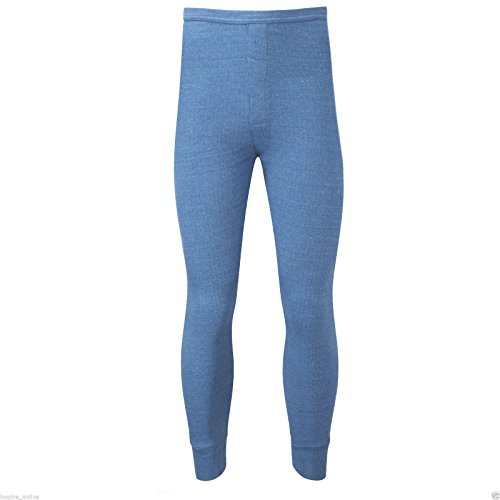 Mens 5 Star Branded Thermal Underwear Long John Pants Winter Skiing Work Sizes Small Medium Large X Large XX Large (XX Large, Blue)