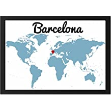Lámina enmarcada mapa con situación BARCELONA - Se puede personalizar con el lugar del mundo que desee