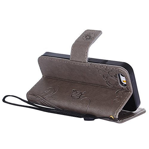 "MOONCASE iPhone 5/iPhone 5s/iPhone SE Coque, [Embossed Pattern] PU Cuir Flip Portefeuille Housse pour iPhone 5/5s/iPhone SE 4.0"" Durable Armure Anti-choc Protection Etui Case Bleu Gris"