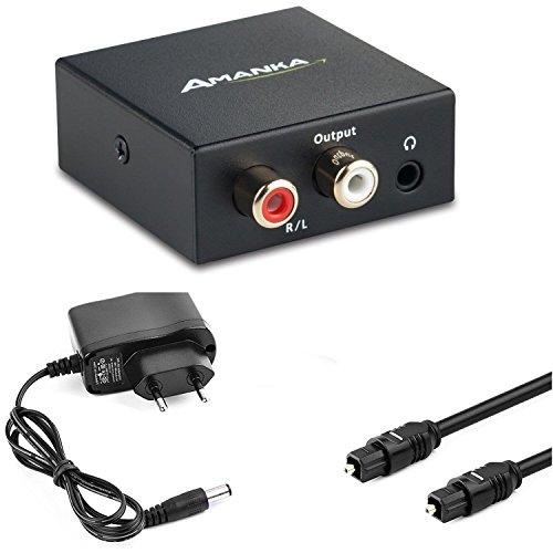 Audio Konverter Wandler Digital, AMANKA Toslink und Koaxial zu Analog (Cinch und 3,5mm Klinke) mit Netzteil 5V/DC und Toslinkkabel - - Cinch-zu-optisch-wandler