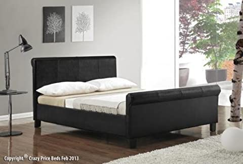 New Designer Black Faux Leather scroll sleigh bed 4FT6