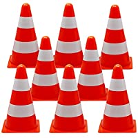 12 Pack Training Traffic Cones, 9inch - Pylons, Orange & White - Ideal for Kids, Sports, Agility Training, Football, Soccer, Obstacle Course, Games, Dog & Horse Training.