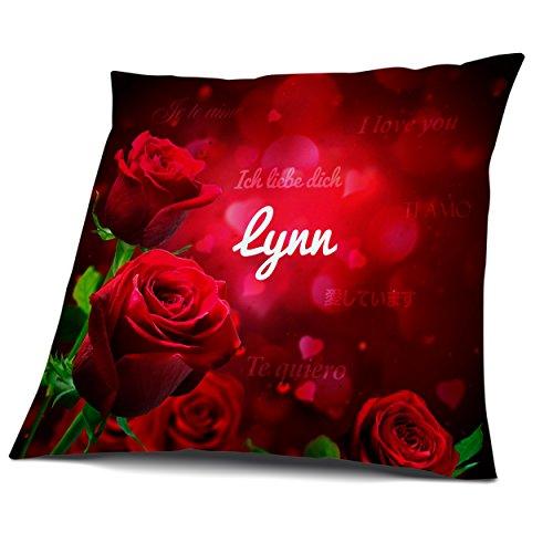 Kissen mit Füllung, Motiv Rosen mit Name Lynn, vollflächig bedruckt 30 x 30 cm, Namenskissen, Geschenkidee -