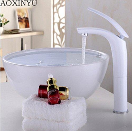 Lavabo sobre encimera grifo para lavabo grifos de agua caliente y fría de cobre, de color de Creative acfacet cuarto de baño lavabo, lavabo orificio único baño giratorio mezclador