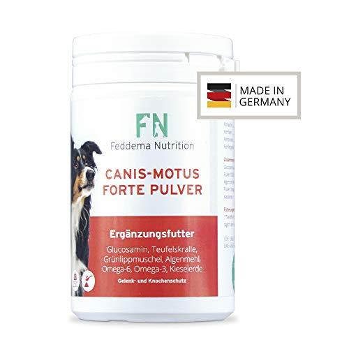 Feddema Canis-Motus Forte Pulver – Hunde-Ergänzungsfutter für Knorpel und Gelenke mit bis zu 3-mal mehr* Glucosamin, Teufelskralle, Grünlippmuschel, MSM