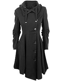 Femme Manteau Laine Parkas Trench-coat Capuche Veste Épaise Manches Longues Avec Ourlet Asymétrique Coat Manteaux Chaud Automne Hiver Gabardine Outwear YOSICIL