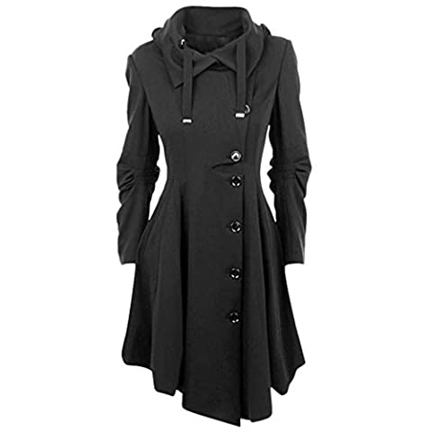 Femme Manteau Laine Parkas Trench-coat Veste Épaise Manches Longues Avec Ourlet Asymétrique Coat Manteaux Chaud Automne Hiver Gabardine Outwear YOSICIL