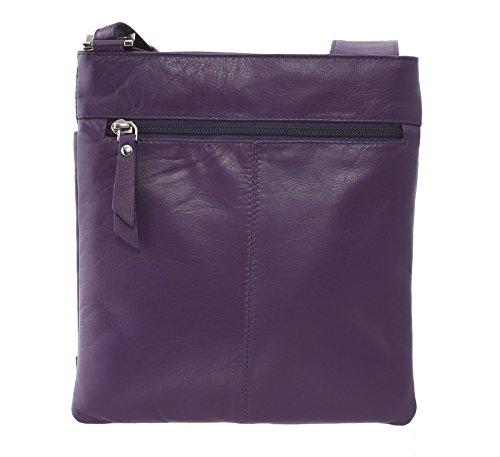 Tracolla in Morbida Pelle Mala Leather Collezione POPPY 737_55 Nero Porpora
