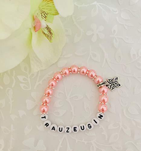 Handgemachtes Armband Trauzeugin, Geschenk zur Hochzeit, Geburtstag, Perlen (rosa)