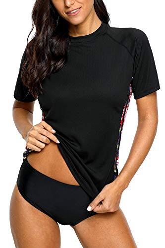 Sociala Damen Kurzarm Rashguard Badeshirt LSF 50+ Rashguard Badeanzug - schwarz - X-Large