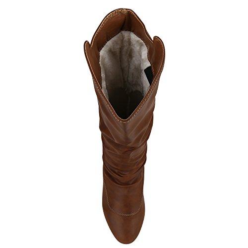 Stivali Da Donna Pelle Look Stivaletti Flat Boots Boots Block Heel Shoes Basic Design Scarpe Da Donna Bagliori Amaretti Marrone Chiaro