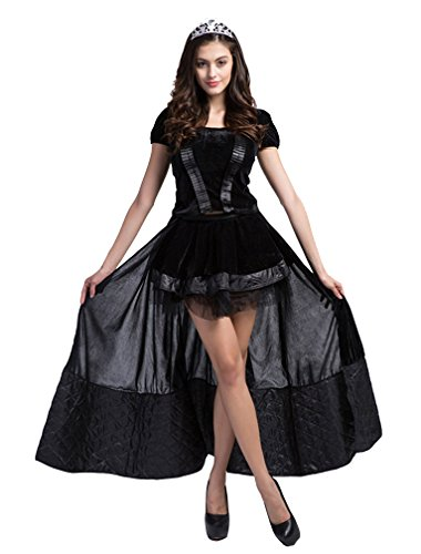 in Feen Damen Kostüm Halloween Kleid Outfit Karneval Schwarz S (Halloween Kleid Frauen)