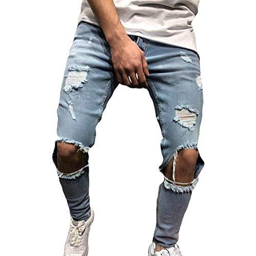 Minetom jeans da uomo pantaloni distrutto pantaloni denim moda casual skinny strappati pants jeans con tasche