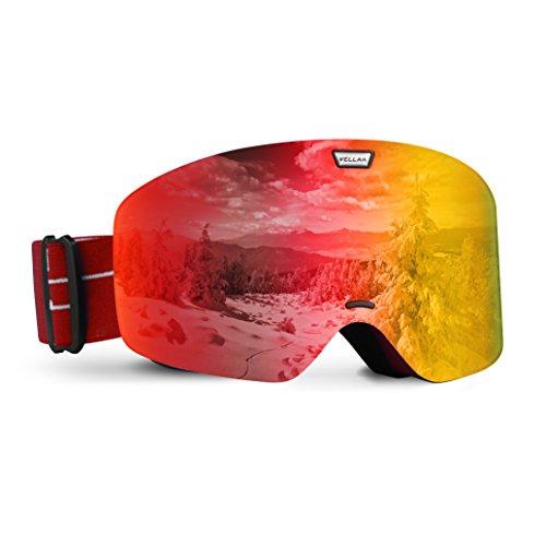 Skibrille Snowboardbrille,VELLAA Schneebrille Skibrille für Damen Herren mit Anti-Fog UV400 Schutz Auswechselbare sphärische Doppel-Lens für Skifahren Snowboarden Skaten Rot (VLT 18%), Rot