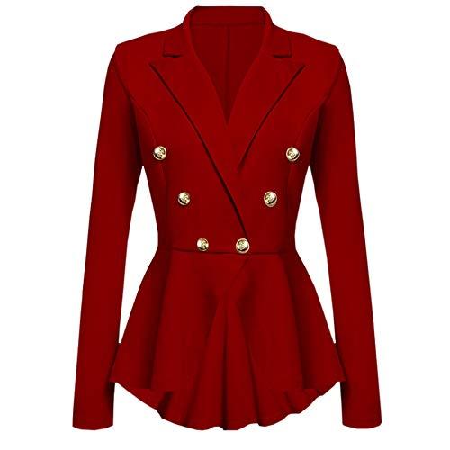 Deloito Damen Mode Langarm Blazer Rüschen Schößchen Taste Beiläufig Jacke Mantel V-Ausschnitt Outwear (Rot,Small) Ausschnitt Mantel