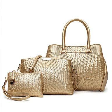 Donna PU tempo libero nuovo una borsa a tracolla borsetta,vino Gold