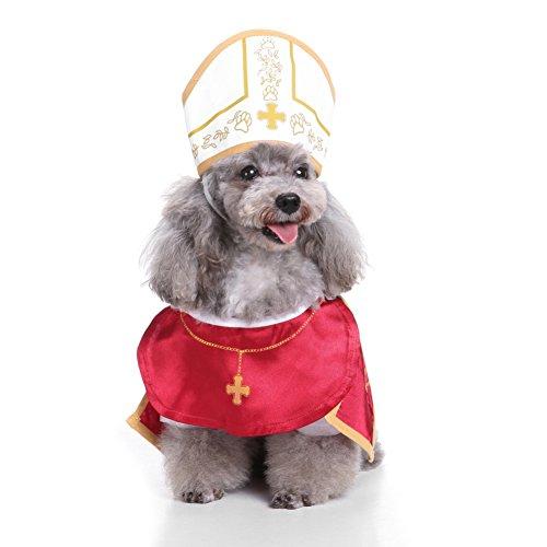Pet Mantel dexinghaoye Haustier Hund Heiligen Godfather Anzug mit Hut Kostüm Halloween Party Puppy Kleidung (Heilige Hund Kostüm)