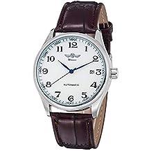 Gute clásico Ganador mecánica Reloj Blanco Esfera Azul Manos PU Pulsera Men-Standard Banda para