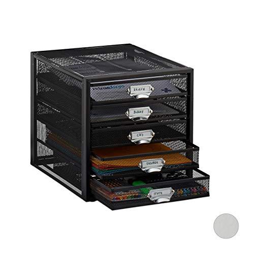 Relaxdays Schubladenbox, 5 Schubfächer, für Din A4 Dokumente, Ordnungssystem für Schreibtisch, Aktenablage, schwarz