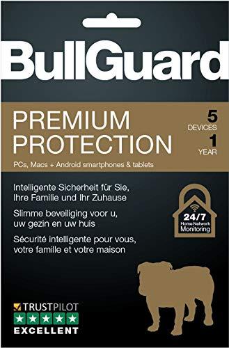 Bullguard Premium Protection 2019 - Lizenz für 1 Jahr und 5 Geräte - Windows|MacOS|Android [Online Code]