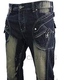 fc0716d622716 Peviani Jeans Homme Bleu délavé et Vieilli Coupe Droite Style décontracté