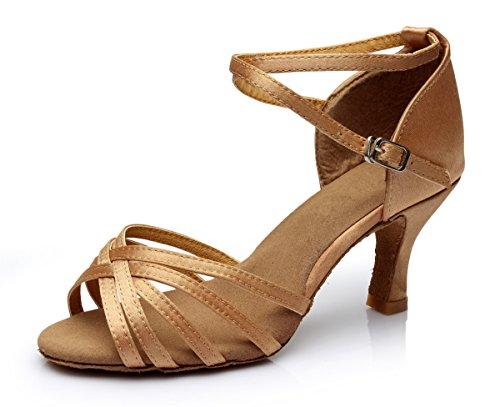 VESI-Zapatos de Baile Latino de Tacón Alto/Medio para Mujer Marrón 38