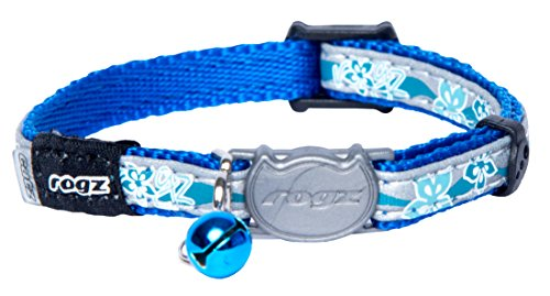 Rogz Catz NightCat Floral Collar, Blue