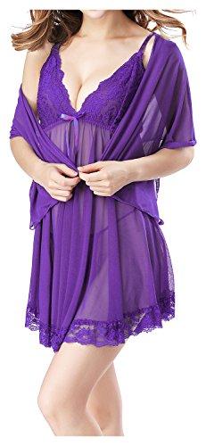 Fedo Design Braut-Dessous, Babydoll, Nachtwäsche Gr. S, violett Chiffon Trim Bikini-top