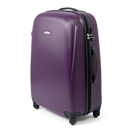 MasterGear Hartschalenkoffer aus ABS mit Reißverschluss in violett (lila) , Koffer Hartschale in Größe: M (67 x 47 x 26 cm / 68 Liter) , Koffer 4 Rollen (360 Grad) , Trolley, Reisekoffer, TSA Schloss