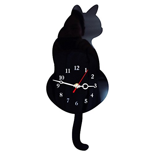 TOOGOO Reloj de pared lindo gato 3D mover el rabo silencio Decoracion de casa Regalo de ninos Negro