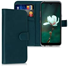 kwmobile Wallet Case Compatible with LG Q60 - PU Leather Flip Cover with Magnetic Closure, Card Slots and Kickstand - Petrol