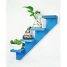 Flores Escaleras Azul - Racks De Flores De Madera Sólida Racks De La Flor De Estilo Europeo Creativo Simple Estantería Flores Estante