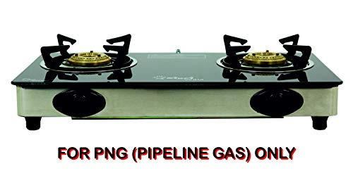 SIGRI-WALA TOUGHENED Glass Stainless Steel 2 Burner Gas Stove for PNG (Pipeline Gas) ONLY