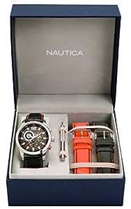 Nautica - A22564G - Montre Homme - Quartz Chronographe - Cadran Noir - Bracelet Cuir Noir