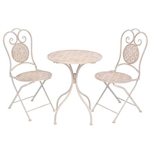 Preisvergleich Produktbild vidaXL 3-tlg. Bistroset Sitzgruppe Terrasse Gartenmöbel Balkonset Stahl Weiß
