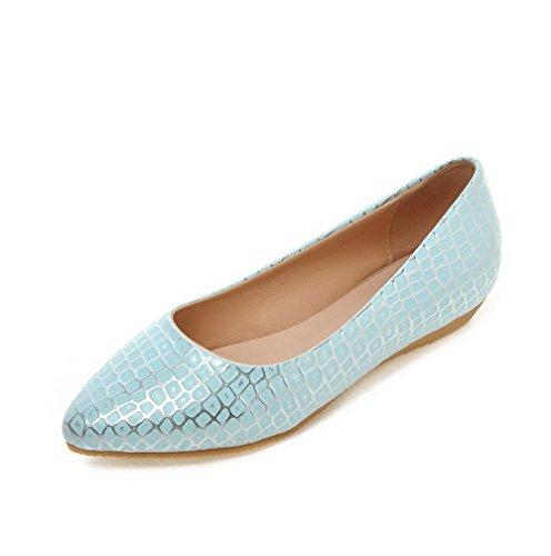 AgooLar Femme Matière Souple Tire Pointu à Talon Bas Texturé Chaussures Légeres Bleu