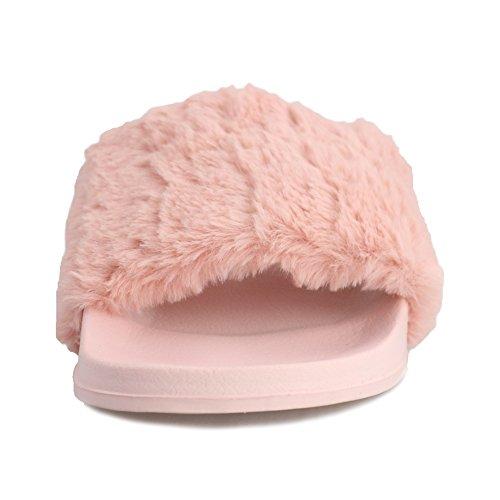 Pantofole Da Donna Federe Morbide Pantofole Rosa / Nere Morbide Da Interno / Esterno Con Pelliccia Antiscivolo Rosa