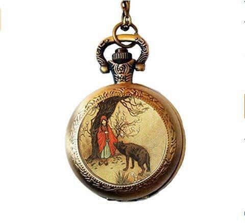 f Bild Taschenuhr Halskette, Little Red Riding Hood, Taschenuhr Halskette, Märchen, Once Upon A Time ()
