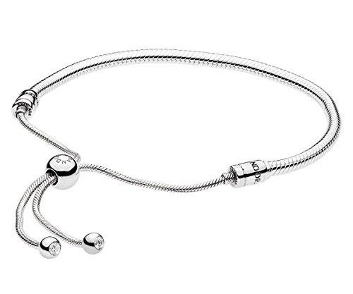 Pandora Damen Moments Pandora Damen Moments Schlangen-Gliederarmband mit Schiebeverschluss Sterling Silber, Cubic Zirkonia 597125CZ-2