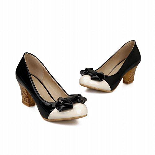 Mee Shoes Damen modern bequem süß Lackleder mit Schleife Geschlossen runder toe Pumps mit hohen Absätzen Schwarz