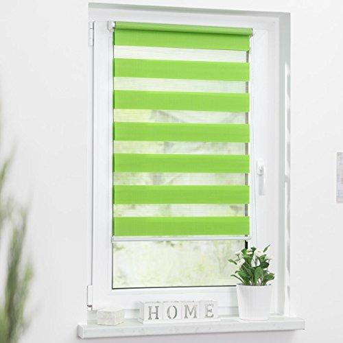 Lichtblick Duo-Rollo Klemmfix, 60 cm x 150 cm (B x L) in Grün, ohne Bohren, Doppelrollo für Fenster & Türen, moderner Sichtschutz, innovative Kombination aus Rollo & Jalousie - 3