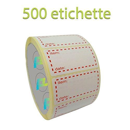 Palucart® etichette su rotolo per congelatore 500 etichette 50 x 25 etichette per alimenti autoadesivi
