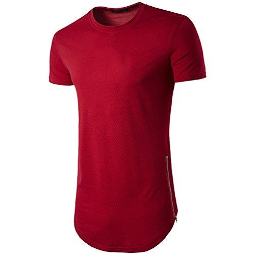 CHENGYANG Herren Lang T-shirt mit Reißverschluss Einfarbig Rundhals T-Shirt Tops Rot