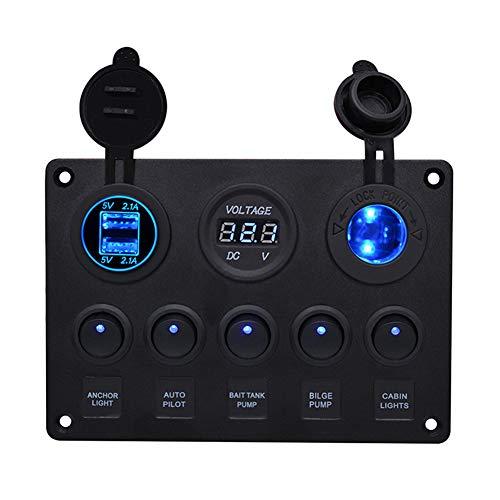 BOSTAR Panel Control 5 Interruptores 2 USB Voltímetro
