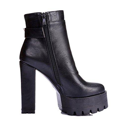 COOLCEPT Damen Blockabsatz Knoechel Plateau Schuhe für die Datierung Martin Stiefel Schwarz