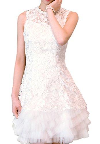 Eyekepper Robe femme elegante robe la demoiselle d'honneur a manches courtes mini-robe de soiree Blanc