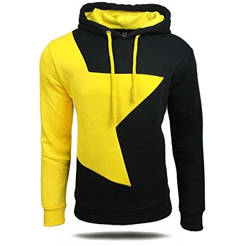 Herren-Qualität Hooded Patchwork 4 Farben Art- und Weise Baumwolle Pullover Sweatshirts Schwarz